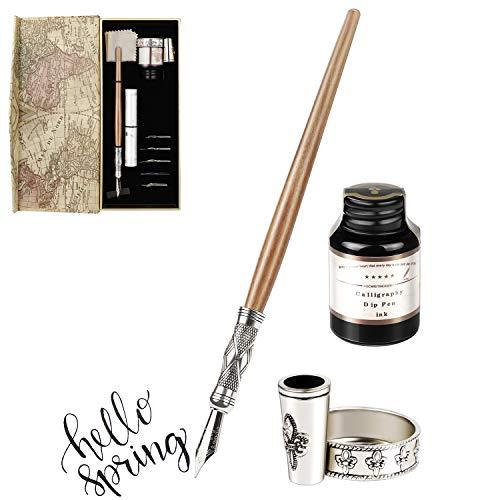 GCQUILL Kalligraphie Stifte Tinte Set Vintage und Handgemachte Holz Schreibfeder mit einen Flasche Tinte Antike Dip Pen in Geschenkbox Perfekt für Anfänger Weihnachtsgeschenk