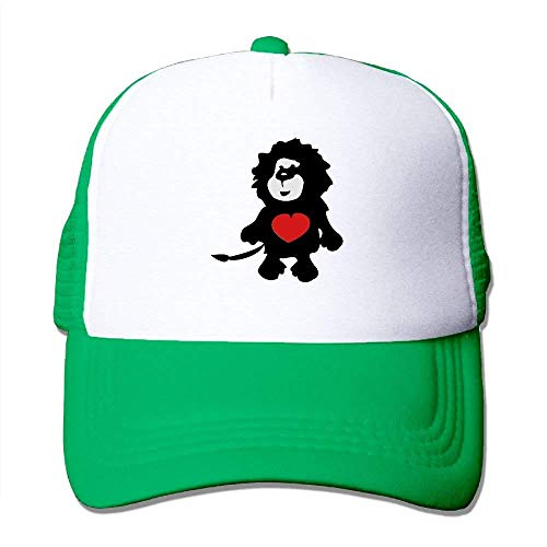 Lion with Red Heart -2 Big Foam Mesh Hat Mesh Back Adjustable Cap hat (2 Red Ball Cool Math)