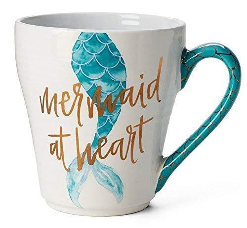 Tri-coastal Design - Keramikbecher mit Blauem Meerjungfrau-Schwanz-Design - Der Keramikgriff Ist mit Goldenen Fischschuppenmustern Verziert, Ideal als Geschenkidee oder zur Dekoration