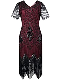 Gatsby 1920s Flapper Dress Women Vintage Sequin Fringe Beaded Art Deco Fancy Dress with Sleeve for Party Prom