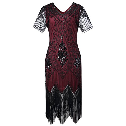 Donne Vestito 1920s Gatsby - Abito Anni 20 Donna Flapper Dress Charleston per Festa in Costume