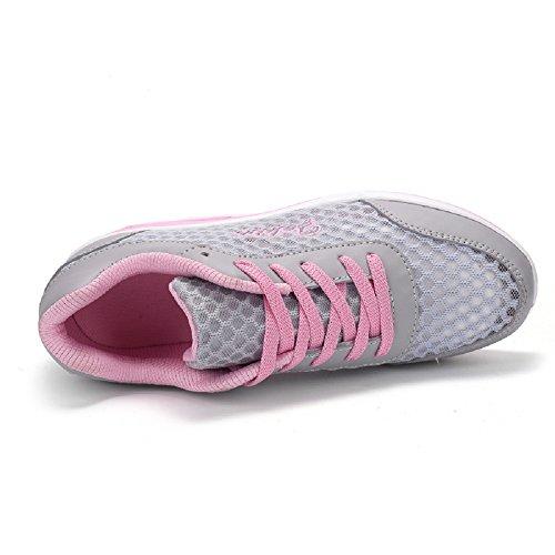 Peggie House Fitness Fitness Scarpe da ginnastica donna Womens Ladies Girls Sneakers Comodo Air Shock Absorbing Trainers Respirabile Mesh Walk Outdoor Casual Scarpe grigio & rosa