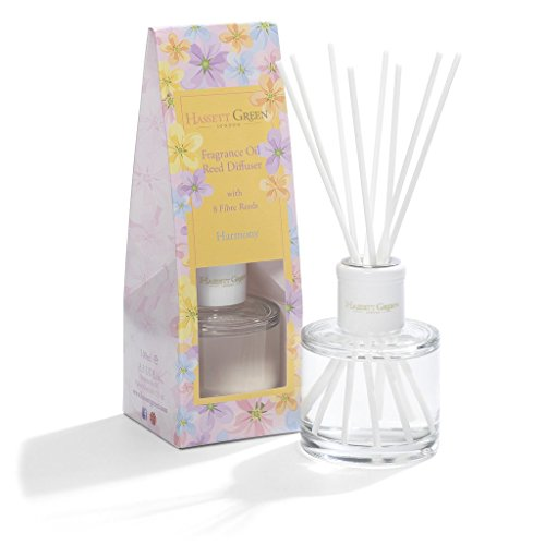 Harmony Duftöl diffuser - Langlebiger Home und Duft von Apple Zitrone Pfirsich mit Rose Lily Veilchen und Jasmin - Stilvoll Glas Flasche mit 8 Fibre Blätter 100 ml 3.3 fl. oz - Parfüm Königreich