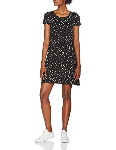 ONLY NOS Damen Kleid onlBERA Back LACE UP S/S Dress JRS NOOS, Schwarz (Black AOP:Triangle Square), 36 (Herstellergröße: S)
