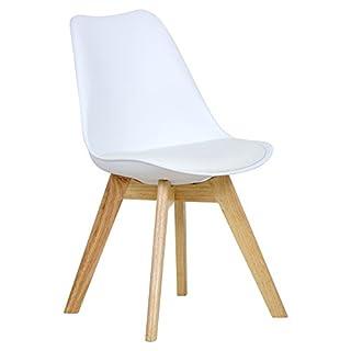 WOLTU 1 X Chaise Salle à Manger Chaise de Cuisine en Similicuir + Plastique + Bois,Blanc BH29ws-1