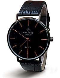 Casual Dashing And Stylish Round Black Dial Watch With Black Leather Strap For Men, Boys And Gents