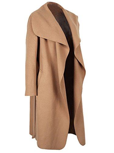 Simplee Apparel, Oversize-Trenchcoat für Damen, Wasserfallrevers, Gürtel, Stil: Kim Kardashian Camel