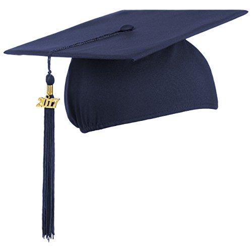 Lierys Doktorhut (Studentenhut) mit 2017 Jahreszahl Anhänger, Hut für Abschlussfeiern vom Studium an Universität, Hochschule oder Abitur, Absolventenhut in der Farbe royal blau, (Männer Kostüme College)