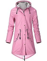 SWAMPLAND Regenjacke Damen PU Windbreaker Mit Kapuze Wasserdicht  Softshelljacke Wetterfest Übergangsjacke Regenmantel b4b3cd9b0a