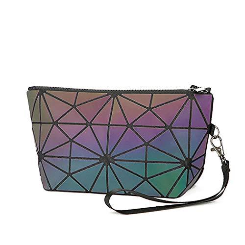 Kosmetiktasche für Damen, geometrisch, Rautenmuster, leuchtende Laser-Kosmetiktasche, wasserdicht, Make-up-Tasche, für Damen und Mädchen