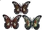 khevga - Set de 3 Mariposas Decorativas para Pared (Metal)