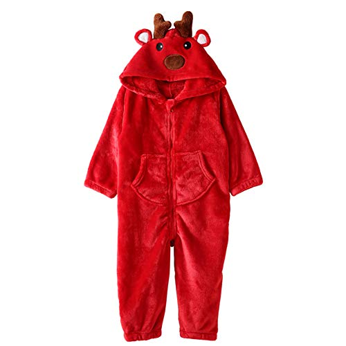 ZWZH Kids Cute Cartoon Fox Sleepsuit Jumpsuit Hooded Playsuit Animal Pajamas Halloween Cosplay Kostüm weich und komfortabel,Red,M
