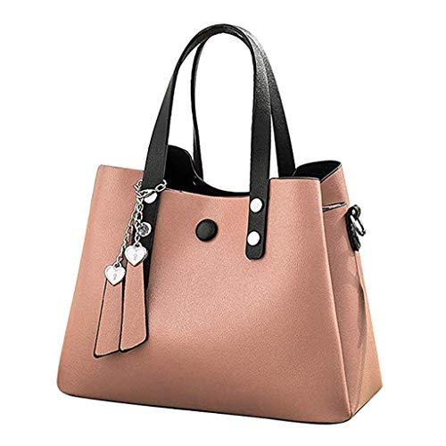 Gjfhome Damen Handtaschen, Ledertasche Tote Schulter Messenger Crossbody Taschen Clutch Totes Handtaschen Große Kapazität Retro,Pink