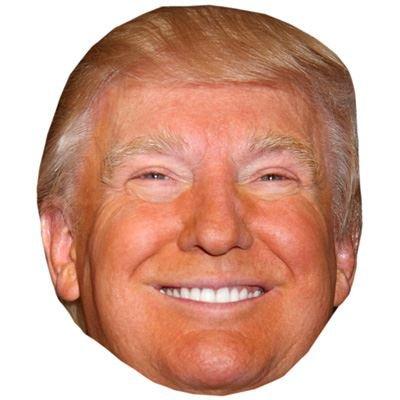 Donald Trump (Lächelnd) Prominente Maske, Karton Gesicht und Kostüm Maske
