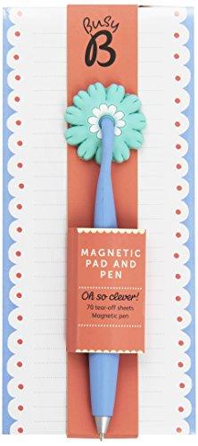 Busy B 4320 Magnetnotizblock und Magnetischer Stift 70 Abreißblätter Punkte, blau/bunt