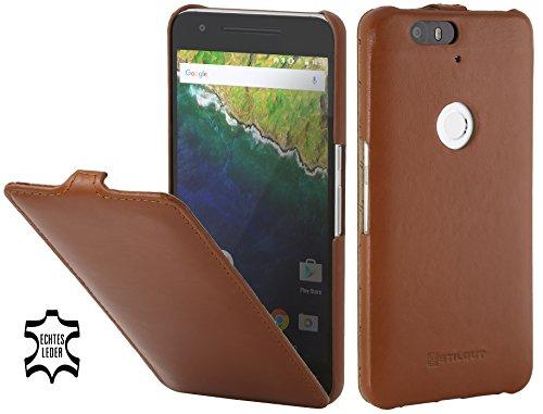StilGut UltraSlim Case, Hülle aus Leder mit On-/Off-Funktion für Google Nexus 6P, Cognac