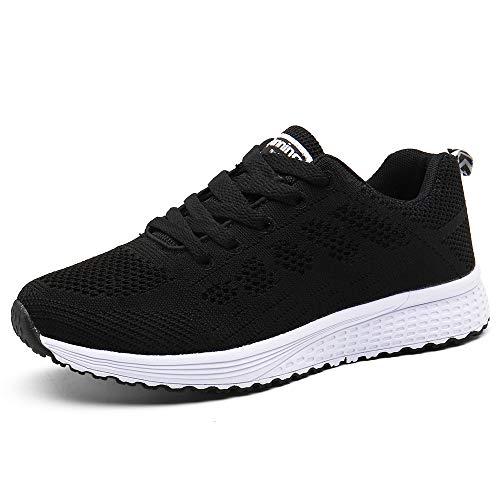 Zapatillas de Deportivos de Running para Mujer Gimnasia Ligero Sneakers Negro Azul Gris Blanco 35-40 Negro 36