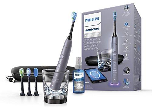 Philips Sonicare DiamondClean Smart Elektrische Zahnbürste mit Schalltechnologie HX9924/43, Ladeglas, USB-Etui, silber