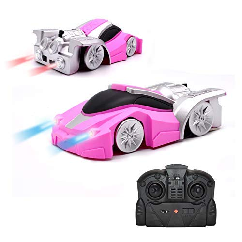 QUN FENG Remote Control Car Remote Control Wall Climbing Stunt Car Electric Gravity Sports Racing car Dual Mode Climber Toy Car for Kids Best Birthday Gift (Pink)