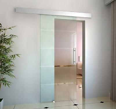 Puerta Corrediza de Vidrio 205x90cm Puerta Corredera Deslizante de Cristal Seguridad