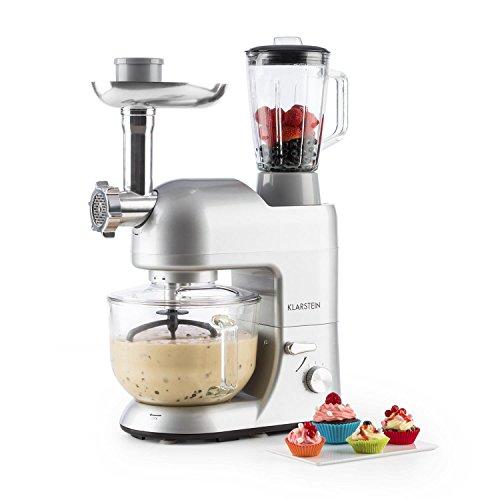 Klarstein Lucia Argentea 2G • Miscelatore da cucina universale • Macchina per impastare • 1200 W • 5,2 litri • 6 livelli • vassoio in vetro • sistema sgancio rapido • contenitore 1,5 litri • argento