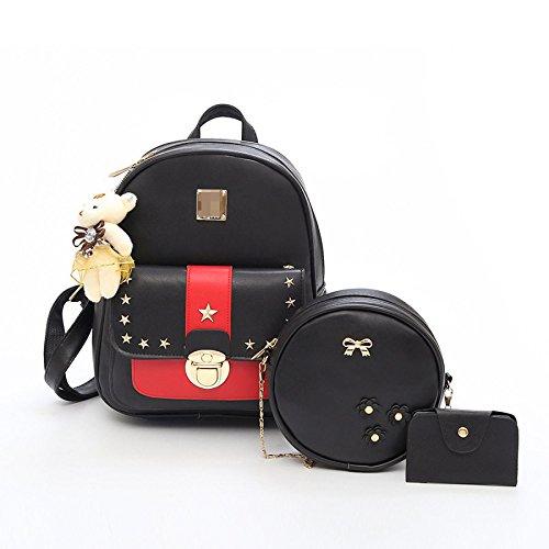 Preisvergleich Produktbild Neu Europa Und Amerika Dreiteilige Rucksack Frauen Rucksack Handtasche Rucksack Damen Handtasche Schultertasche Mädchen Schultasche Teenager Reise Daypack 25 * 10 * 30cm 14 * 5 * 14cm 7 * 1 * 11cm,Red-OneSize