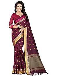 Muta Fashions Cotton Silk Wine Red Women Saree