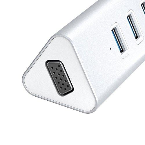 Aukey CB C35   Hub USB C VGA con 4 puertos 3.0  color plata