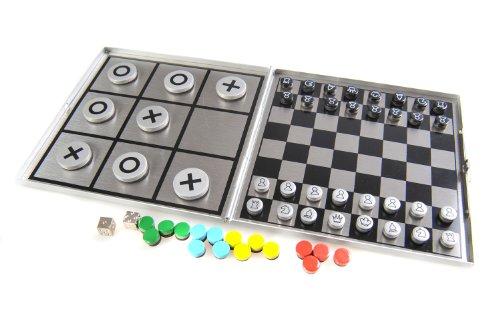 Azerus Alu Line: 4-in-1 Spielset C - Schach, Solitaire (Peg Solitaire oder Sailor's Solitaire), Ludo, Tic-Tac-Toe, mit magnetische Spielsteinen, Spielbrett 10,5cm x 10cm x 0,6cm (XY046P4 DE)