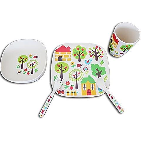 Juegos de cubiertos de fibra de bambú de personas en silla de bebé Tazón Cuchara Alimentación Complementaria Snack-Box de dibujos animados sub-rejilla de comer del plato (una variedad de patrones opcionales) ( Color : B )