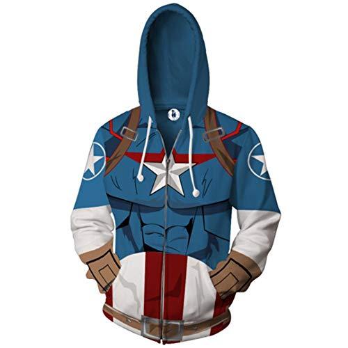 Zhuwy Herren 3D Druck Hoodie Kapuzenpullover Tunnelzug Pullover Langarm Sweatshirt Unisex Kapuzenjacke Mit Taschen XL Captain America Zipper (Captain America Winter Hut)