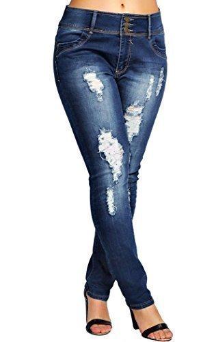 SS7 Damen Stretch Schmal Zerissene Jeans, Indigo, Größen 44-52 - Indigo, 48 (Stretch-denim Indigo)