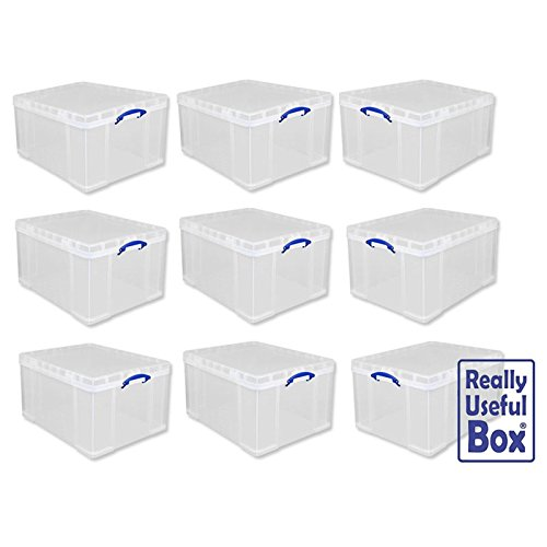 Affordable Really Useful 84 LITRE Plastic Storage Box (CLEAR) Pack of 9 Online