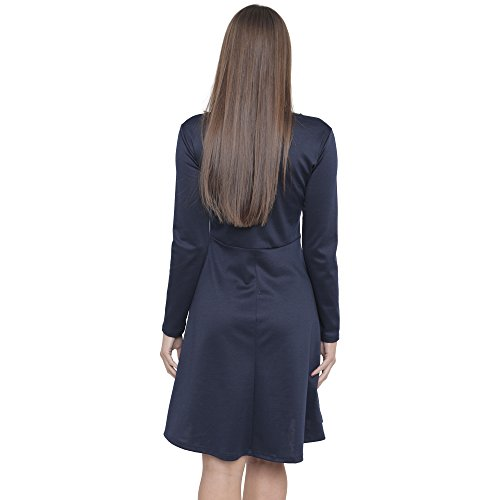 Get The Trend - Robe - Patineuse - Manches Longues - Femme Bleu Marine
