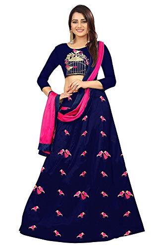 Dharmi Fashion Women\'s Silk Lehenga Choli (Blue_Free Size, Semi-Stitched)