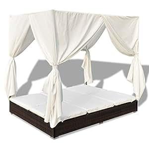 anself poly rattan sonnenliege 2 personen mit vorhang. Black Bedroom Furniture Sets. Home Design Ideas