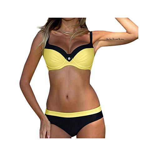 Women's Summer Padded Bra Bikini Set Patchwork Black Red Yellow Blue Swimsuit Two Pieces Swimwear Beachwear Beach Bathing Suit Gold United States - 3-piece Shave Set