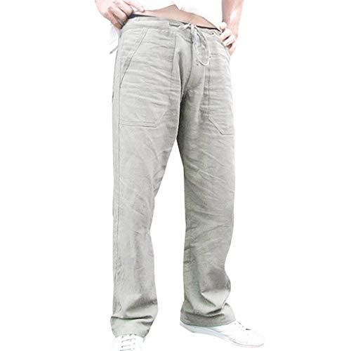 Leinenhosen Männer Große Größe,Mode Männer Spleißen Gedruckt Overalls Lässige Pocket Sport Work Lässige Hosenhose Stoffhose Leinen Bequem Atmungsaktiv Sommerhosen Loose