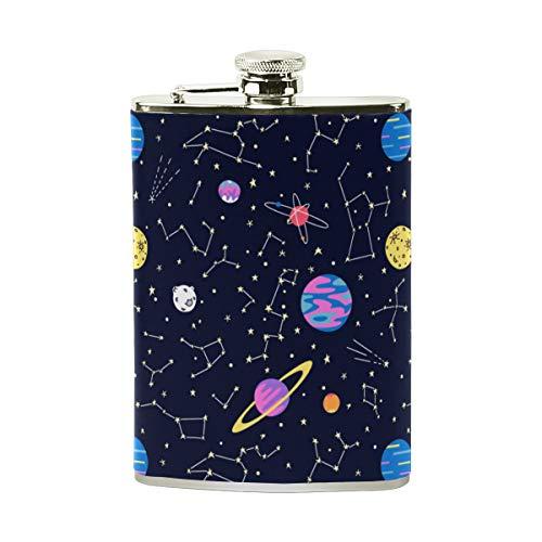 Jeansame Personalisierte Flachmann Mini Flask Trinkflasche Edelstahl 227 ml für Damen Herren Planet Stars Moon Sun Rakete Galaxy Space Universe