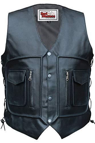 German Wear Chaleco de piel para moto, negro