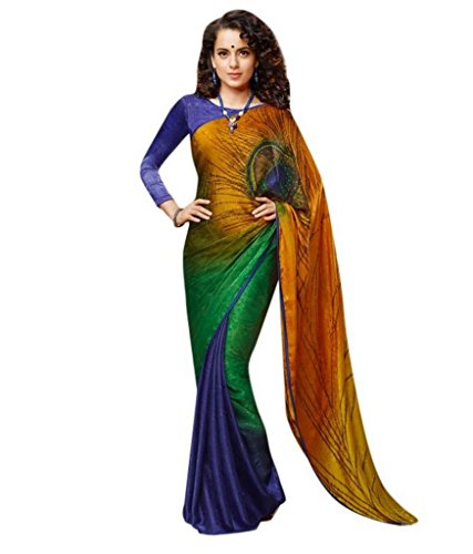 Z Fashion Green_Blue_Orange Jacquard Printed Designer Saree