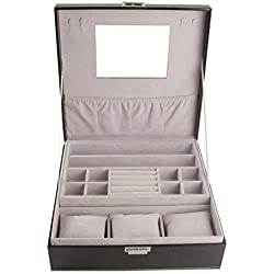 DoubleBlack Jewellery Organiser Necklace Earrings Storage Box