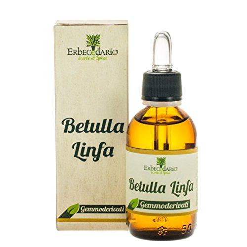 gemmoderivato di betulla linfa erbecedario, drenante, per ridurre ritenzione idrica, cellulite, depurazione reni, 1 flacone 50ml