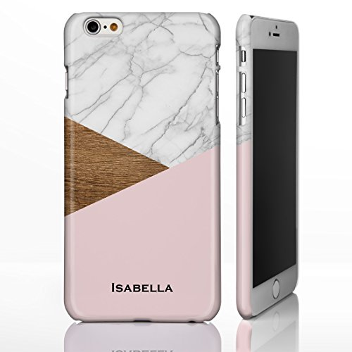 personalisierbar Marmor Mix Schutzhülle für iPhone Modelle. Marmor, Onyx und Holz Mix Designs, plastik, Marble 1: White Marble with Pink Base, iPhone 5C - Slim Case Marble 6: White, Wood and Pink