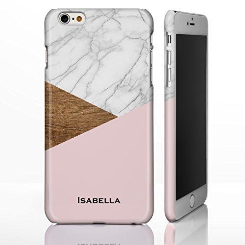 personnalisé Marbre Mix Coque pour iPhone modèles. Marbre, Onyx et bois Motifs mélangés, plastique, Marble 6: White, Wood and Pink, iPhone 5 / 5S / SE - Slim Case Marble 6: White, Wood and Pink