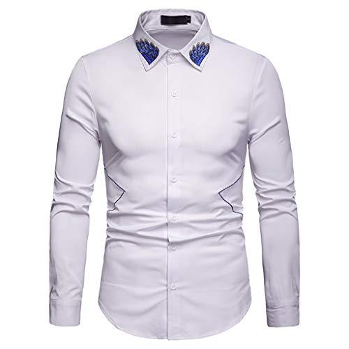 Herren Hemd Slim Fit Langarmshirt Formell Hemden Freizeitshirt für Business Hochzeit Trachtenhemd Groß Größe T-Shirt Männer Tops Btruely