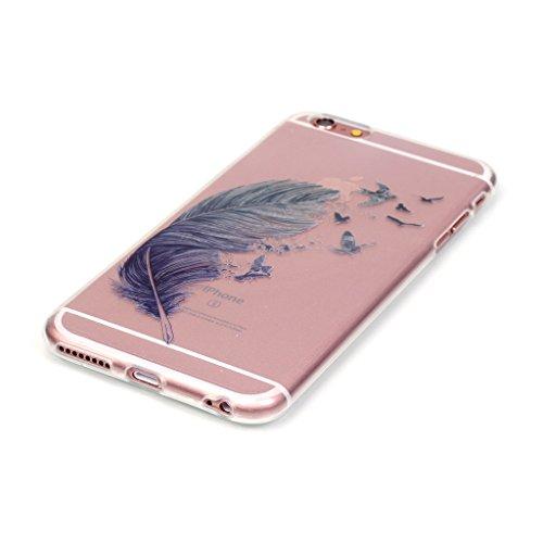 iPhone 6s plus Hülle,iPhone 6 plus TPU Hülle,Fodlon® Ultra dünn Tropfenschutz / Shock-Absorption mit Anti-Scratch Silikon-TPU-Fall-Abdeckung für iPhone 6 plus 6s plus-Bär Farbige Federn