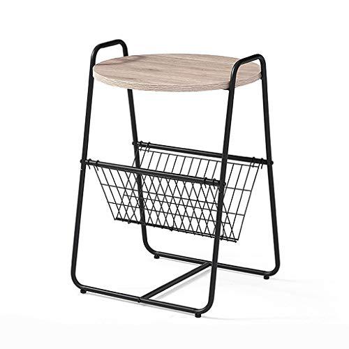 Table basse ronde avec rangement, pattes de table en acier au carbone de petite table de salon moderne pour petit espace, rouille résistante à l'usure de tables industrielles (Couleur : NOIR)