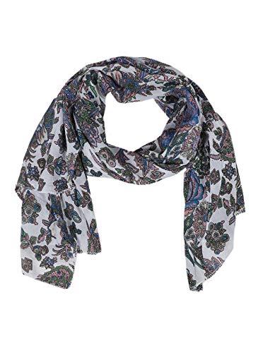 Zwillingsherz Seiden-Tuch im Floral-Print - Hochwertiger Schal für Damen Mädchen - Halstuch - Umschlagstuch - Loop - weicher Schlauchschal für Frühjahr Sommer Herbst und Winter - weiß -