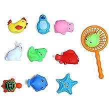 Set Von 10 Niedlichen Tiere Baby Kinder Bad Spielzeug Wasser Sport Spaß  Spielzeug Mit Net Picker